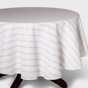 70 in. Round Tablecloth, Ivory with Gold Stripes